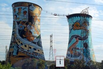Bungee jumping at Orlando Power Station Towers, Soweto, Johannesburg, Gauteng